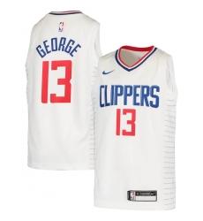 Youth LA Clippers #13 Paul George Nike White 2020-21 Swingman Jersey