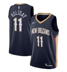 Men's New Orleans Pelicans #11 Jrue Holiday Nike Navy 2020-21 Swingman Jersey