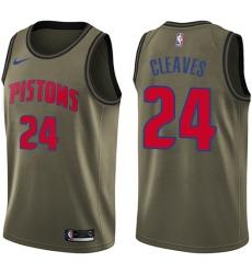 Youth Nike Detroit Pistons #24 Mateen Cleaves Swingman Green Salute to Service NBA Jersey