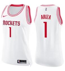 Women's Nike Houston Rockets #1 Trevor Ariza Swingman White/Pink Fashion NBA Jersey