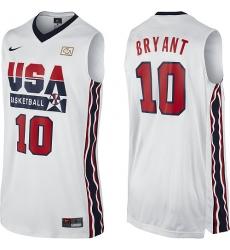 Men's Nike Team USA #10 Kobe Bryant Authentic White 2012 Olympic Retro Basketball Jersey