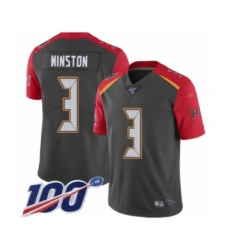 Youth Tampa Bay Buccaneers #3 Jameis Winston Limited Gray Inverted Legend 100th Season Football Jersey