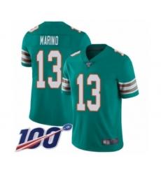 Youth Nike Miami Dolphins #13 Dan Marino Aqua Green Alternate Vapor Untouchable Limited Player 100th Season NFL Jersey
