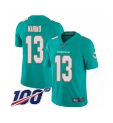Youth Nike Miami Dolphins #13 Dan Marino Aqua Green Team Color Vapor Untouchable Limited Player 100th Season NFL Jersey