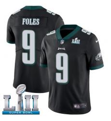 Men's Nike Philadelphia Eagles #9 Nick Foles Black Alternate Vapor Untouchable Limited Player Super Bowl LII NFL Jersey