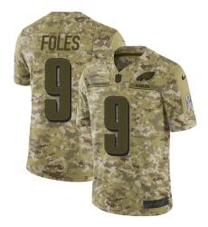 Youth Nike Philadelphia Eagles #9 Nick Foles Limited Camo 2018 Salute to Service NFL Jersey