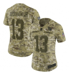 Women's Nike New York Giants #13 Odell Beckham Jr Limited Camo 2018 Salute to Service NFL Jersey