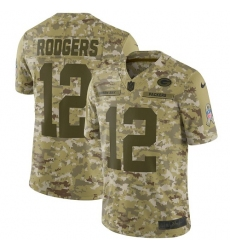 Men's Nike Green Bay Packers #12 Aaron Rodgers Limited Camo 2018 Salute to Service NFL Jersey