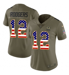 Women's Nike Green Bay Packers #12 Aaron Rodgers Limited Olive/USA Flag 2017 Salute to Service NFL Jersey